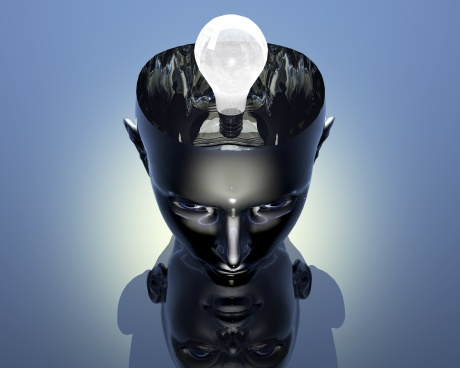 3D lamp in 3D cyborg girl head