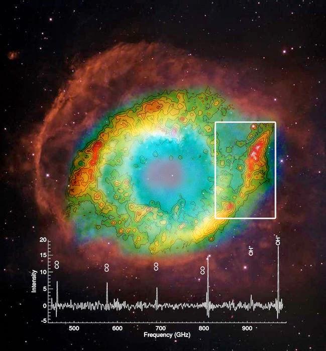 Gracias al observatorio espacial Herschel de la ESA, los astrónomos han descubierto la presencia de una molécula fundamental para la formación del agua entre las brasas que dejan las estrellas como nuestro Sol en las últimas fases de su vida.