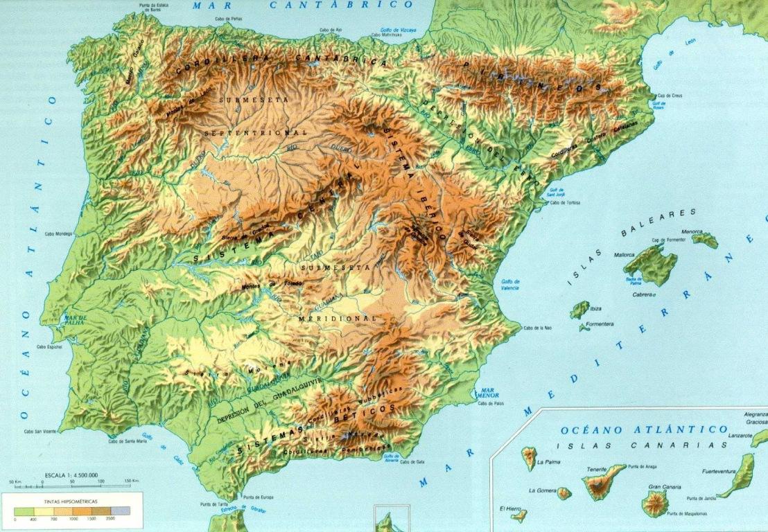 mapa-fisico españa y peninsula